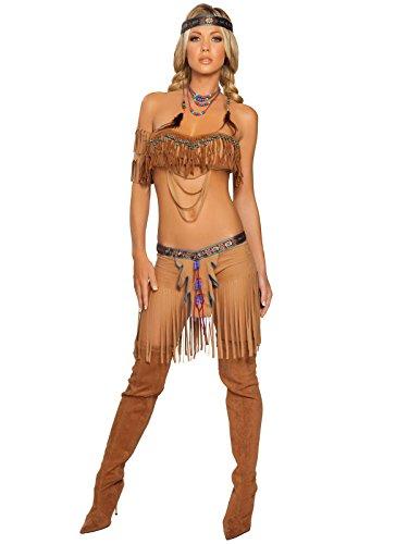 (Roma Costume 5 Piece Cherokee Warrior Costume, Tan, Small/Medium)