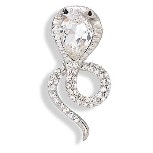 OBONNIE Vintage Crystal Rhinestone Snake Cobra Animal Brooch Pins Cardigan Hat Scarf Safety Pins Badge (Silver Cobra)