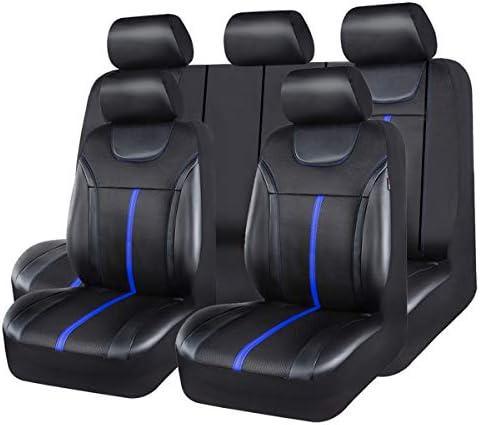 CAR PASS Sporty Leather Universal Car Seat CoverZipper DesignFit for SuvsVansSedansTrucksAirbag Compatible (Black and Gray)