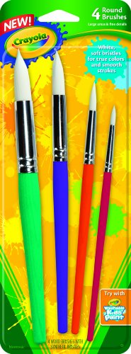 (Crayola Big Paint Brushes (4 Count Round), Great for Kids)