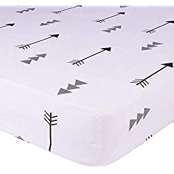 "Kyapoo Crib Sheets 100% Cotton Arrows Unisex Bedding Style For Toddler Girl & Boy - Baby Bed Mattress Protector - Crib Mattress Covers Hypoallergenic Breathable 52""x28"""