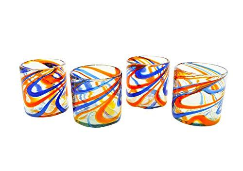 Set of 4, Blue and Orange Swirl Double Old Fashioned Rocks Glasses, 16 ozs. Handmade ()