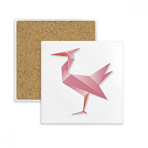 (Geometric Abstract Flamingo Origami Pattern Square Coaster Cup Mug Holder Absorbent Stone for Drinks 2pcs Gift)