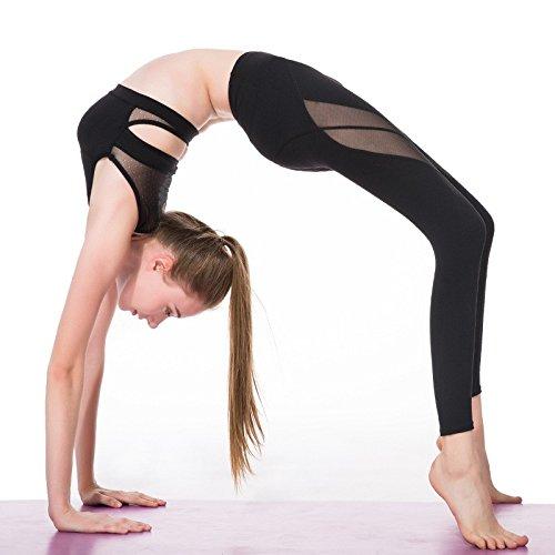 Mayu an520femmes Sport Fitness Legging salle de fitness Mesh Patchwork Yoga Pantalon Courir Sport Pantalons Sportswear respirante Pantalon Fonctionne