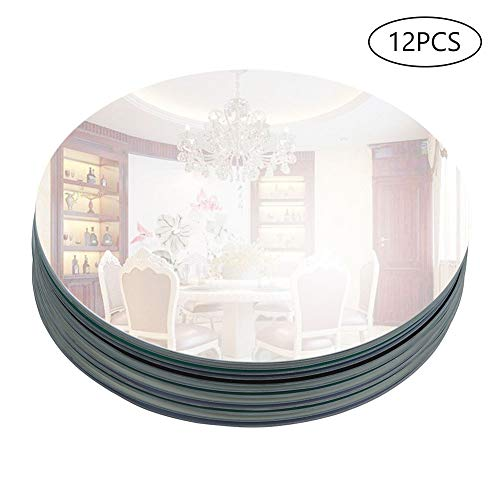 "Murrey Home 12"" Round Mirror Tray for Wedding Decorations/Decor, Candle Tray/Plate for Baby Shower, Parties Centerpieces, Set of 12, 2mm"