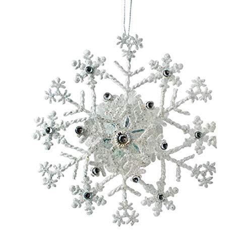Tin Collection Glitter - Holiday 3D Snowflake Ornament Large Glitter Metal Hand Painted 2018