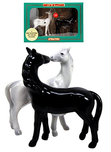 (Ebros Adorable Love Locked White And Black Horse Valentines Twin Salt Pepper Shakers Set Fun Kitchen Dining Ceramic Magnetic Decor Figurines With Rustic Cowboy Horses Steeds Jockeys Animal Farmland)