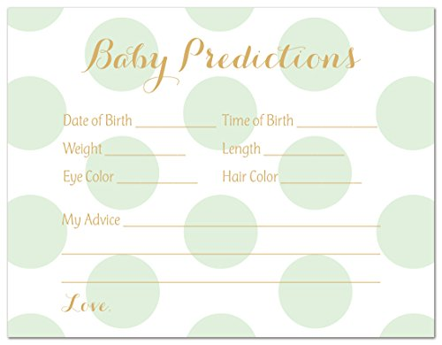 48 Polka Dots Gold Baby Shower Prediction Cards (Mint)