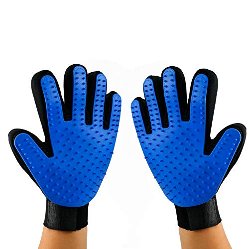 xusheng Pet Grooming Glove-Pet Hair Remover Glove-Dog Mitt for Grooming-Massage Mitt with Enhanced Five Finger Design…