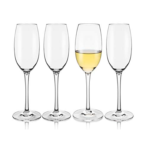 Unbreakable Champagne Flutes Glasses, 100% Tritan Plastic Goblets Wine Glasses,Reusable Clear Cups 7.2 OZ, Shatterproof, BPA-FREE, Dishwasher safe (4)