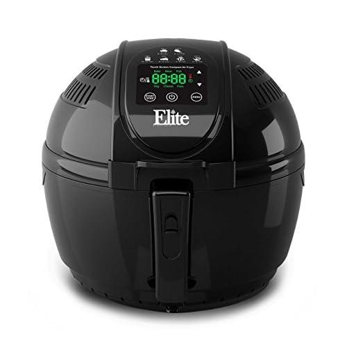 Elite Platinum 3.5 Quart Electric Digital Air Fryer Cooker, 1400-Watts with 26 Full Color Recipes (Black)