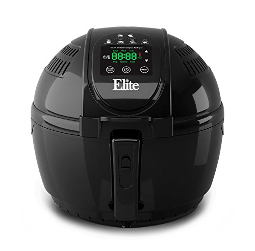 Elite EAF-1506D Platinum 3.5 Quart Electric Digital Air Fryer Cooker, 1400-Watts with 26 Full Color Recipes (Black) by Maxi-Matic