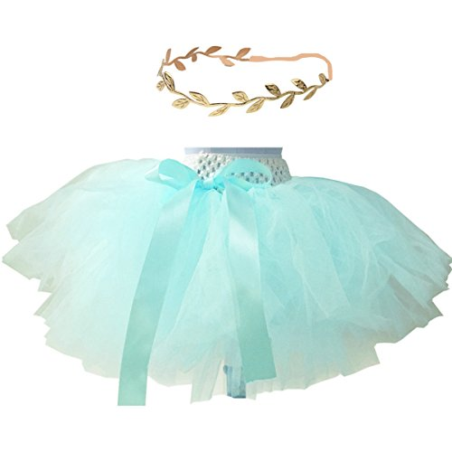 Baby Girls Tutu and Gold Headdress Sets for Weddding Flower Girl Green