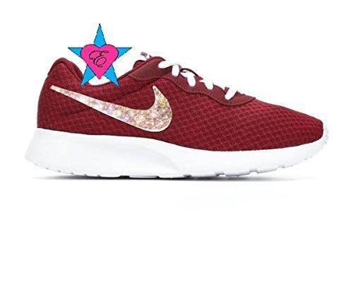 47fa297416d8ce Amazon.com  Women Glitter AB Crystal Burgundy White Nike Tanjun Sneakers  Glitter Kicks  Handmade