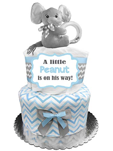 Elephant Diaper Cake - It's a Boy Baby Shower Gift - Blue and Gray -
