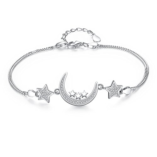 (EVER FAITH 925 Sterling Silver CZ Bling Moon and Stars Bracelet Double Chain Clear)