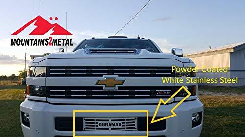 Mountains2Metal 2015-2019 Chevy Silverado 2500 3500 HD Duramax Powder Coated White Stainless Steel ()
