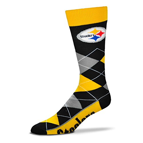 NFL Pittsburgh Steelers Argyle Unisex Crew Cut Socks - One Size Fits Most