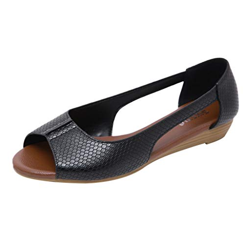 Toimothcn Flat Sandals for Women Open Toe Slip on Pu Shoes Summer Low Heels Strappy Sandal (Black2,US:6)]()
