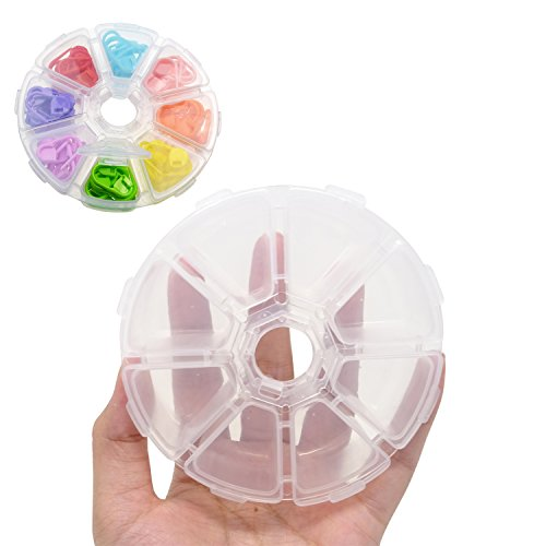 Plastic Round Beads (Honbay 2PCS 8 Grid Plastic Storage Organizer Containers Jewelry Box Fishing Box Pill Box)