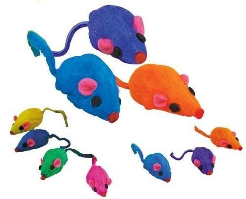 Zanies 20 x Cat Toy Rainbow Fur Mice That Rattle by