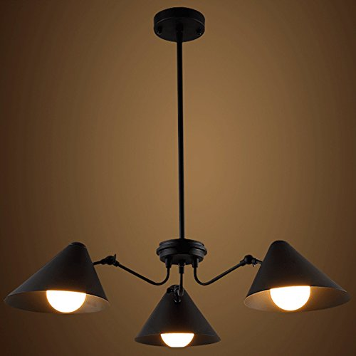 Price comparison product image Ruanpu Industrial Retro Amber 29.92 Width Black Pendant Chandelier Ceiling light lamp with 3 Lights Coolie Shade