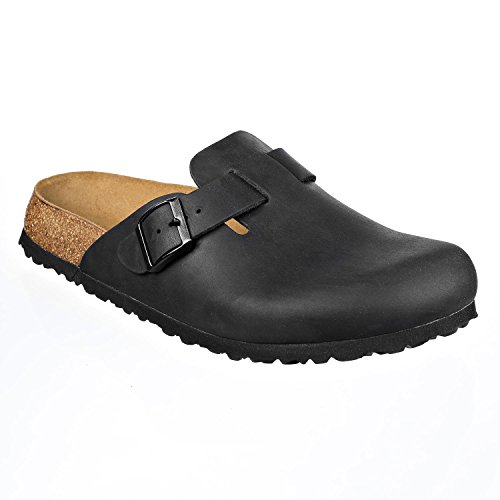 Leather Mens Clogs - JOE N JOYCE Slippers Clogs Shoes Leather Regular - Mens Black 42 EU