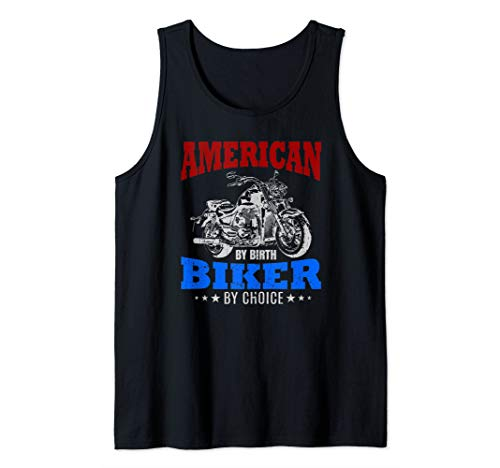 American By Birth Biker By Choice Quote Motorcycle Gift USA Tank Top
