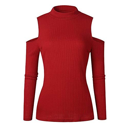 Maniche Camicia Collo Rot Shirts A Ragazze Rotondo Pullover Bluse Lunghe Tops Donna Giovane off Jumper Eleganti Tempo Monocromo Felpe Shoulder Camicetta Libero 1qwxE0RfI