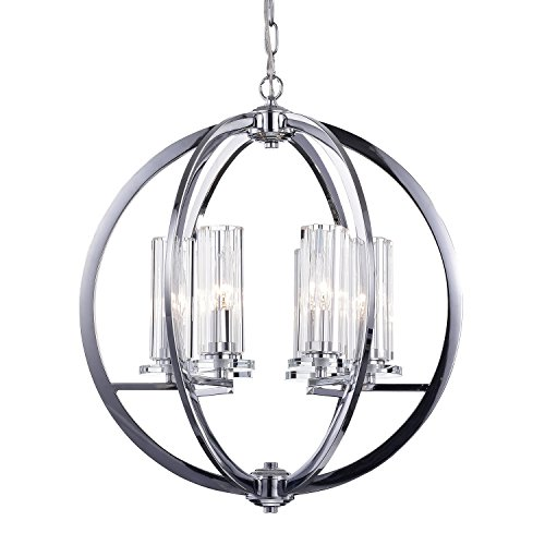 Edvivi 6-Light Chrome Finish Globe Chandelier with Clear Glass Cylinder Sconces | Contemporary Lighting