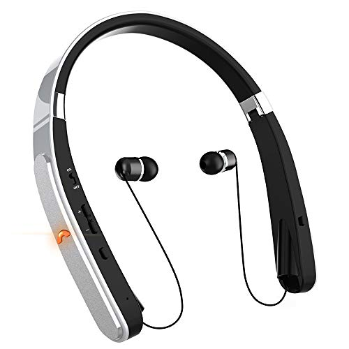 Bluetooth Headphones, Neckband Bluetooth Headset, Dostyle [30 Hours Playtime] Wireless Bluetooth Headphones w/Mic & Retractable Headset Compatible for All Cellphones Samsung & Android Phones (Silver)