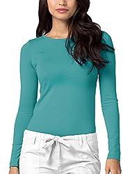 Adar Womens Comfort Long Sleeve T-shirt Underscrub Tee - 2900 - Aqm - S