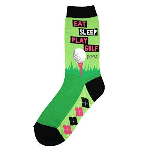 Foot Traffic - Women's Sports-Themed Socks, Eat Sleep Golf (Shoe Sizes 4-10)
