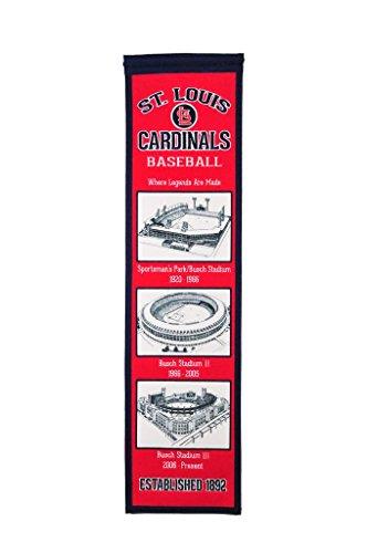 Louis Cardinals Wall Hanging - St Louis Cardinals Stadium Evolution MLB 8x32 Wool Felt Heritage Banner