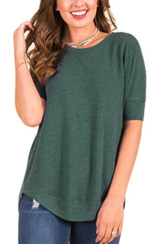 POGTMM Women's Summer Loose Casual V-Notch Tee Tops Short Sleeve T-Shirts (XXL, Green)