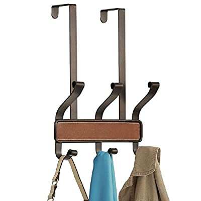 mDesign Decorative Over Door 6 Hook Storage Organizer Rack - Holds Hats, Coats, Hoodies, Clothes, Scarves, Purses, Leashes, Towels & Robes - Bronze/Brown Leather - STORAGE MADE STYLISH: This classic, farmhouse decor hook rack provides instant storage in your closets or behind interior doors; Great for hanging accessories, bath towels, wristlets, bags, pashminas, shawls, head scarfs, backpacks, purses, coats and more; The soft contours on the tiered hooks are designed to be easy on your clothing and keep snags away; Perfect for men's and women's clothing COMPACT DESIGN: The double hook design provides ample storage space in a compact, space-saving format; Ideal for small spaces and older homes with limited closet space; Perfect for anyone who needs more storage space; Use this in mudroom and entryway closets to create a drop zone for jackets, wind breakers, sweaters, coats, hats, scarves, dog leashes, bags, backpacks and purses FUNCTION & VERSATILE: Decorative and functional, this heavy-duty hook rack will provide you with extra storage space exactly where you need it; The textured wood brings a touch of classic style to your home; Instantly install in entryways, mudrooms, bedrooms, bathrooms, laundry rooms, closets, garages and more by hanging over interior doors; Hassle free - no hardware or drilling needed; Great for apartments, condos, college dorm rooms, kids rooms, RVs, and campers - entryway-furniture-decor, entryway-laundry-room, coat-racks - 41wTyQt%2BT9L. SS400  -