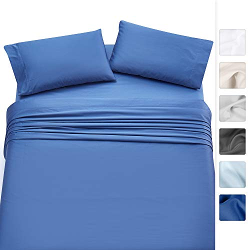- California Design Den 500-Thread-Count 100% Cotton Twin XL Size Sheets, Long Staple Combed Pure Natural Cotton Moonlight Blue Bed Sheet Set for Kids & Adults, Soft & Silky Sateen Weave