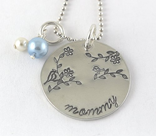 Mother's or Mommy Silver Necklace -Mama Bird and Baby Bird Branch - Grandmother or Mom - Necklace Pendant Diva