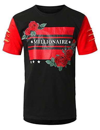 URBANCREWS Mens Hipster Hip Hop Color Block Embroidery T-Shirt Black, XL