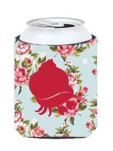 Hermit Crab Shabby Chic Blue Roses Can or Bottle Beverage Insulator Hugger BB1102