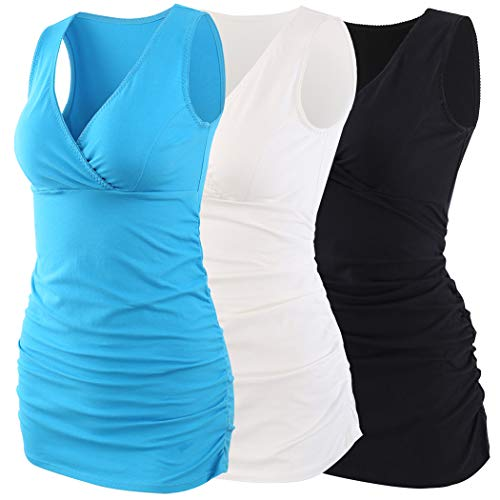 - KUCI Maternity Nursing Tank Top, Women Maternity Pajama Tops Nursing Cami Sleep Bra For Breastfeeding (L, Black+Lake Blue+White/3Pack)