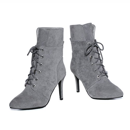 Calf Pointed Boots Mid Grey Autumn Agodor Elegant Shoes On Toe Slip Stiletto Lace Womens Up Winter TY0Xgq
