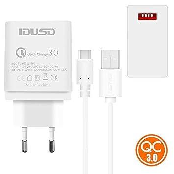 IDUSD Cargador Quick Charge 3.0 USB C QC 3.0 Tipo C(Cable ...