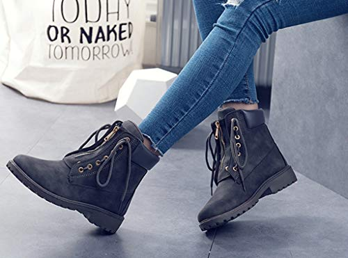 Motoautumn Ocasionales Dark Martin Encaje Winter Liangxie Usan De Planas Boots Botas Gray Herramientas And Mujer Mujeres qfHUXO