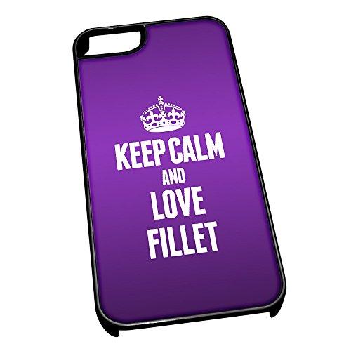 Nero cover per iPhone 5/5S 1084viola Keep Calm and Love filetto