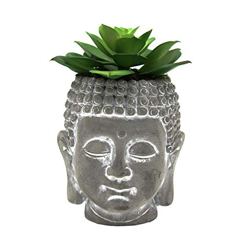 Cement Buddha Head Succulents Tiny Flower Plant Pots Stand Containers Decor for Office Home Include Plants Approx 5 inch High