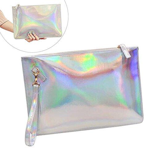 Fashion Women's Holographic Leather Clutch Bag Purse Simple Fashion Laser Envelope Evening Wristlet Handbag , portable waterproof Fashion Focus Cosmetic bag,Shining Evening Bag, Wedding (Evening Bag Purse Makeup)