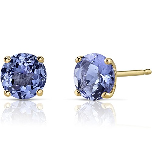 14K Yellow Gold Round Cut 1.50 Carats Tanzanite Stud Earrings ()
