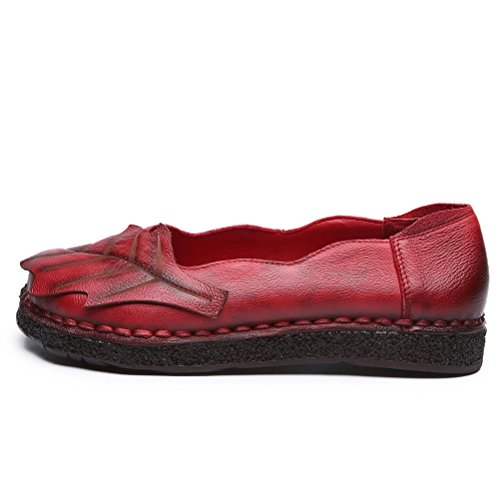 Handmade Red Spring Boat Loafer Flat Mallimoda New Autumn Shoes Moccasins Women's w4Inq1H