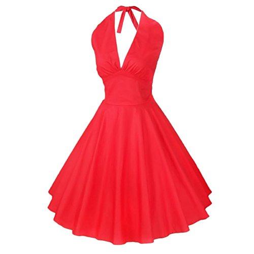 Eyekepper vestido de epoca 1950 Audrey Hepburn Rockabilly oscilacion Rojo